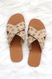 Cross Band X Strap Studded Sandals-Taupe