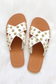 Cross Band X Strap Studded Sandals-White
