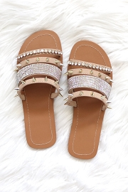 Studded and Rhinestone Strappy Sandals-Taupe