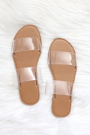 Clear Two Strap Band Sandals-Clear