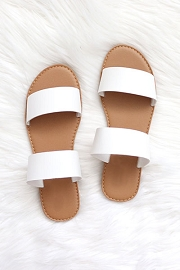 Two Strap Band Sandals-White