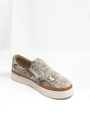 Casual Animal Print Slip On Shoes with Trim-Snake Skin Print