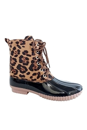 Leopard Print Lace Up Rubber Duck Boots-Black