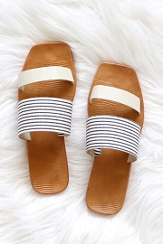Mixed Two Strap Band Sandals-Off White and Black Striped