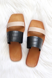 Mixed Two Strap Band Sandals-Nude and Black