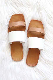 Mixed Two Strap Band Sandals-Tan Nude and White