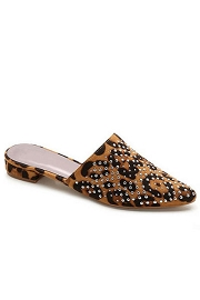 Studded Pointy Toe Closed Toe Faux Leather Slides Mules-Leopard Print