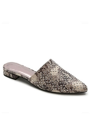 Studded Pointy Toe Closed Toe Faux Leather Slides Mules-Snake Skin Print