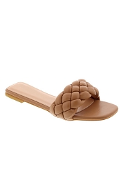 Braided Woven Sandals Slides-Camel Brown
