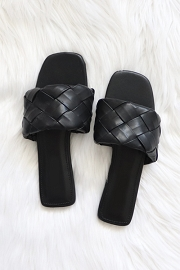 Woven Single Band Slides Sandals-Black