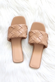 Woven Single Band Slides Sandals-Camel Brown