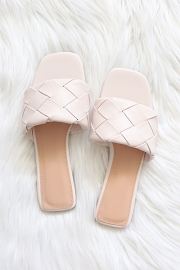 Woven Single Band Slides Sandals-Off White Ivory