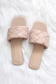 Woven Single Band Slides Sandals-Nude