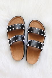 Studded Double Strap Platform Sandals Slides-Black