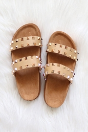 Studded Double Strap Platform Sandals Slides-Tan Brown