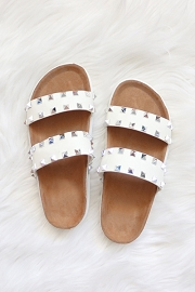 Studded Double Strap Platform Sandals Slides-White