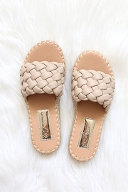 Braided Woven Espadrille Sandals Slides-Taupe