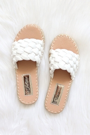 Braided Woven Espadrille Sandals Slides-White