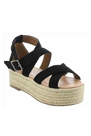Strappy  Espadrille Low Flat Wedge Sandals-Black