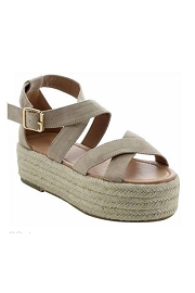 Strappy  Espadrille Low Flat Wedge Sandals-Nude Taupe Beige