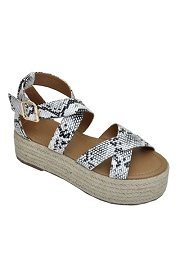 Strappy  Espadrille Low Flat Wedge Sandals-Snake Skin Print