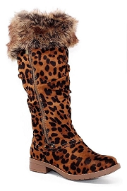 Knee High Animal Print Fur Winter Boots-Leopard Print