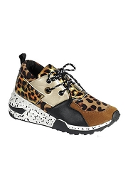 Animal Print Mix Low Top Sneakers-Brown & Leopard Print