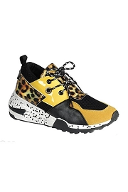 Animal Print Mix Low Top Sneakers-Yellow & Leopard Print