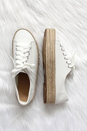 Lace Up Espadrille Wedge Sneakers-White