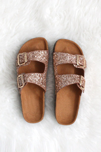 FLASH DEAL: Glitter Double Strap Buckle Sandals-Rose Gold