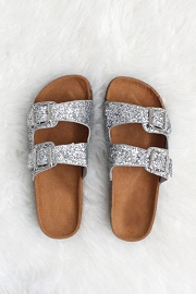 Glitter Double Strap Buckle Sandals-Silver