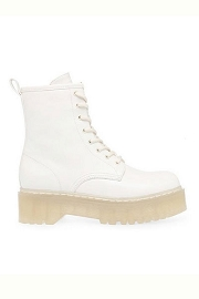 Faux Leather Lace Up Hiking Military Combat Boots with Lug Sole-White