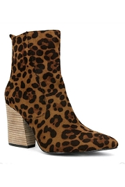 Faux Suede Closed Toe Boots with Chunky Heel-Leopard Print