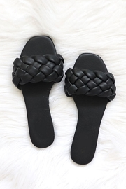 Braided Woven Sandals Slides-Black