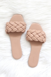 Braided Woven Sandals Slides-Blush