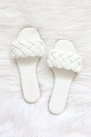 Braided Woven Sandals Slides-White