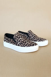 Platform Casual Animal Print Slip On Shoes-Cheetah Leopard Print