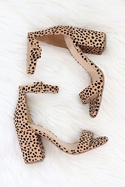 Single Band Ankle Strap Shoes Block Heel-Cheeath Leopard Print
