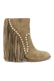 Faux Suede Studded Fringe Closed Toe Tall Boot-Taupe