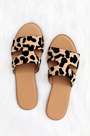 Every Day H Band Cutout Sandals Slides-Leopard Print