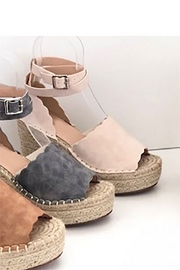 Scallop Platform Wedge Espadrille Sandals with Ankle Strap-Nude