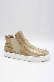 Casual High Top Slip On Flat Sneakers Shoes-Beige Crocodile Print