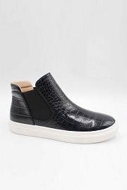 Casual High Top Slip On Flat Sneakers Shoes-Black Crocodile Print