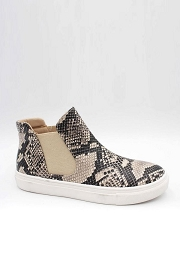 Casual High Top Slip On Flat Sneakers Shoes-Python Snake Print