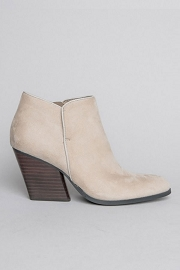 Closed Toe Faux Suede Chunky Block Heel Ankle Booties-Grey