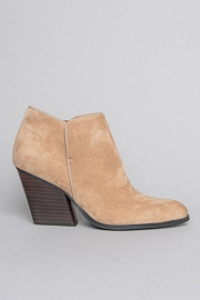 Closed Toe Faux Suede Chunky Block Heel Ankle Booties-Tan Beige
