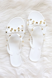 Studded Bow Flip Flops Jelly Sandals-White