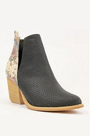 Stacked Heel Ankle V-Slit Side Cutout Closed Toe Booties -Black & Multi-Colored Snake Print