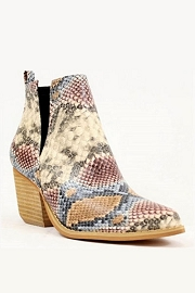 Stacked Heel Low Heel Ankle V-Slit Side Cutout Closed Toe Booties -Multi-Colored Snake Print