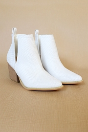 Stacked Heel Low Heel Ankle V-Slit Side Cutout Closed Toe Booties -Snake White